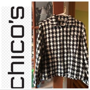 Chico's Size 2 Houndstooth Jacket.